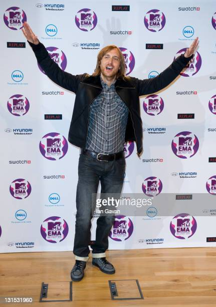 DJ and Producer David Guetta attends a MTV Europe Music Awards 2011 press conference at Odyssey Arena on November 5 2011 in Belfast Northern Ireland