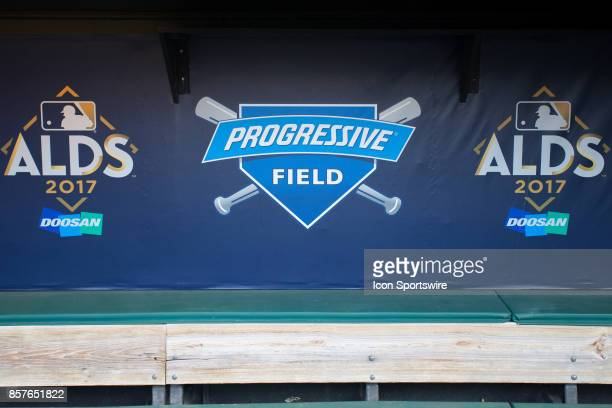 ALDS and Progressive Field logos on the wall of the Yankees dugout on workout day in preparation for the 2017 American League Divisional Series...