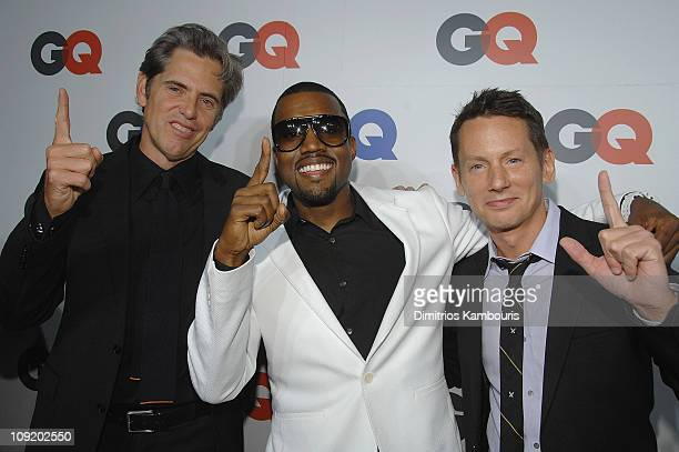 VP and Publisher of GQ Peter Hunsinger Kanye West and Editor in Chief of GQ Jim Nelson attend the GQ Magazine 50th Anniversary Party at Cedar Lake on...