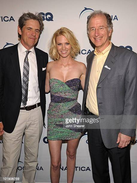 VP and Publisher Peter Hunsinger actress January Jones and Oceana's CEO Andy Sharpless attend the GQ Nautica and Oceana World Oceans Day Party at...