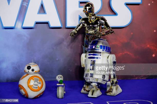 BB8 C3PO and R2D2 appear on the red carpet at the European film premiere of Star Wars The Rise of Skywalker in London on December 18 2019