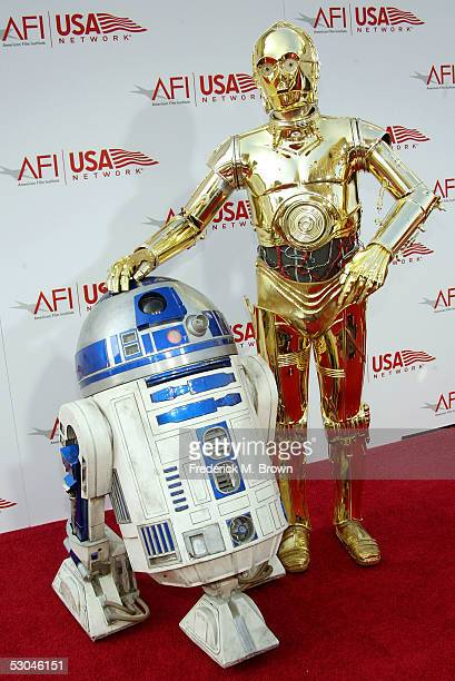 and R2D2 arrive at the 33rd AFI Life Achievement Award tribute to George Lucas at the Kodak Theatre on June 9 2005 in Hollywood California