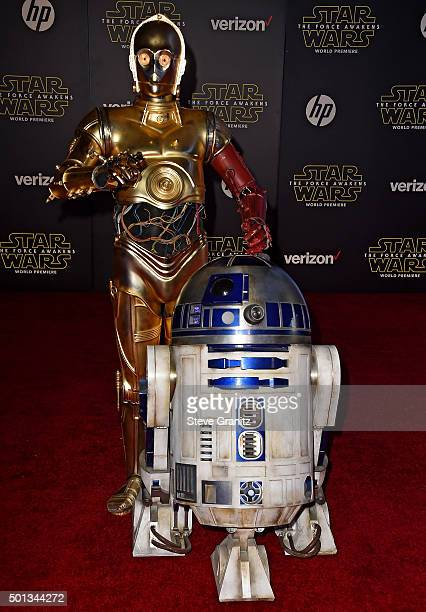 and R2D2 arrive at the premiere of Walt Disney Pictures and Lucasfilm's 'Star Wars The Force Awakens' at the Dolby Theatre TCL Chinese Theatre and El...