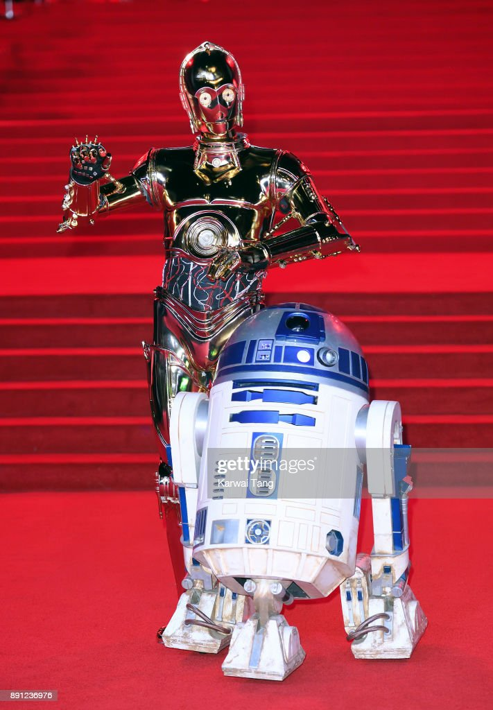 C-3PO and R2-D2 attend the European Premiere of 'Star Wars: The Last Jedi' at Royal Albert Hall on December 12, 2017 in London, England.