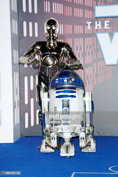 C3PO and R2D2 attend the European Premiere of Star Wars The Rise of Skywalker at Cineworld Leicester Square on December 18 2019 in London England
