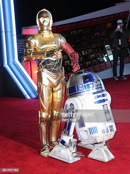 C3PO and R2D2 attend the premiere of Walt Disney Pictures and Lucasfilm's 'Star Wars The Force Awakens' on December 14 2015 in Hollywood California