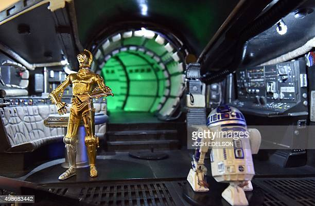 ZABLIT ENTERTAINMENTUSFILMSTARWARSFANS C3PO and R2D2 figures are seen inside a Millennium Falcon cutaway model inside Rancho ObiWan the world's...