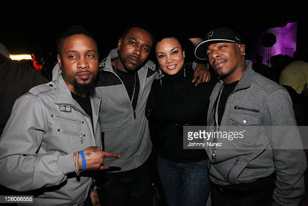 TV and radio personality Egypt Sherrod poses with Nokio Tao and Sisqo of Dru Hill at the Ladies Night Valentine's Day Edition concert at Madison...