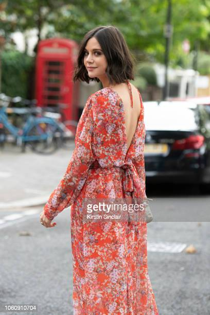 And Radio Presenter Lilah Parsons wears a Preen dress during London Fashion Week September 2018 on September 16, 2018 in London, England.