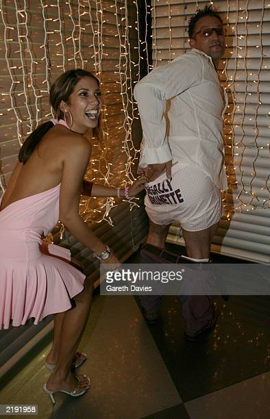 TV and Radio Presenter Toby Anstis gets his trousers pulled down by model Leilani revealing the words Legally Brunette attending the Party of Legally...