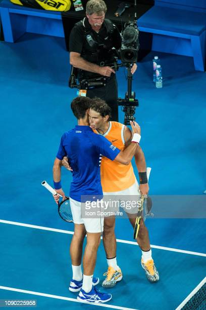 and RAFAEL NADAL during day fourteen match of the 2019 Australian Open on January 27 2019 at Melbourne Park Tennis Centre Melbourne Australia Photo...