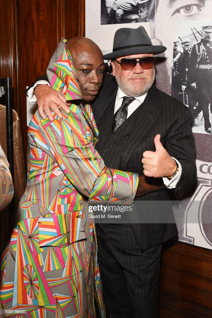 and Ray Winstone pose backstage at the Pam Hogg show during London Fashion Week September 2018 at The Freemason's Hall on September 14, 2018 in London, England.