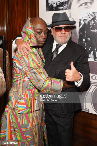 and Ray Winstone pose backstage at the Pam Hogg show during London Fashion Week September 2018 at The Freemason's Hall on September 14 2018 in London...