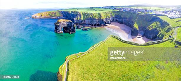 HQ and Res. Aerial panorama of  Ballybunion Cliff  at colorfull sunset Co. Kerry, Ireland
