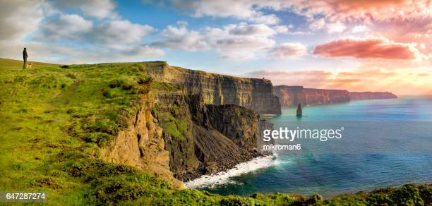 hq and res. panorama of  cliffs of moher, ireland - republic of ireland stock pictures, royalty-free photos & images