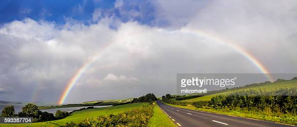 HQ and resolution double rainbow landscape in beautiful  Irish landscape scenery.