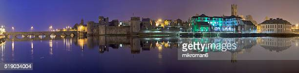 hq and resolution panorama of king john's castle and cathedral,county council  limerick's city center. - limerick city stock-fotos und bilder