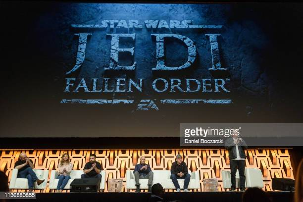 """And Respawn Entertainment reveal the """"Star Wars: Jedi Fallen Order: video game during Star Wars Celebration at McCormick Place Convention Center on..."""