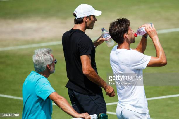 and ROGER FEDERER during practice day for the 2018 Wimbledon on July 1 at All England Lawn Tennis and Croquet Club in London England