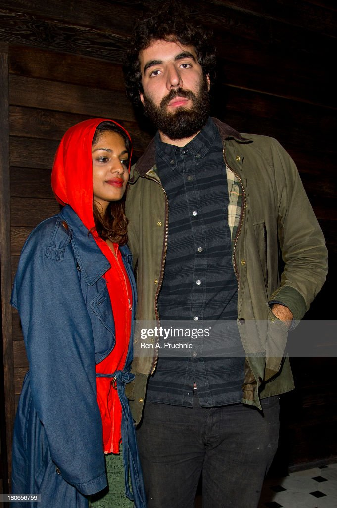 M.I.A and Romain Gavras attends Paula Goldstein's voyagedetudes.com launch in the Punch Room at The London EDITION on September 15, 2013 in London, England.