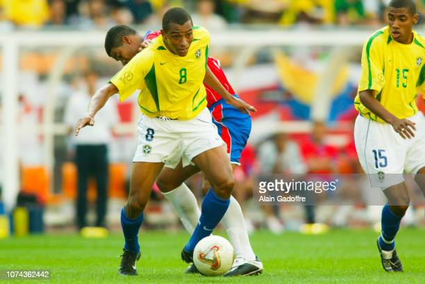 and Ronald GOMEZ during the 2002 FIFA World Cup match between Costa Rica and Brazil on June 13 2002 in Suwon Stadium South Korea