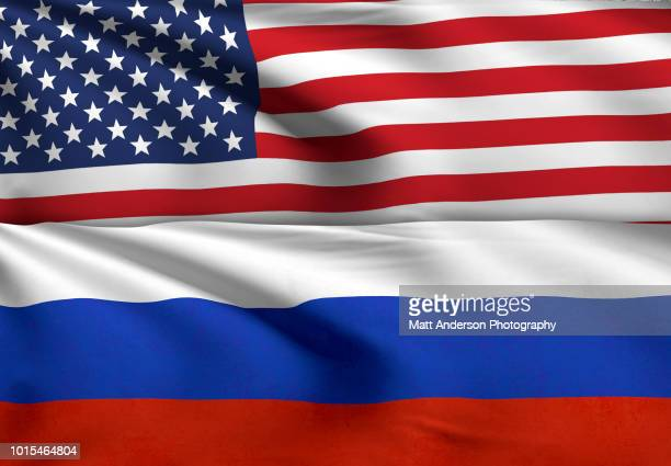 usa and russia flag 8k resolution. no texture no effect. - russian culture stock pictures, royalty-free photos & images