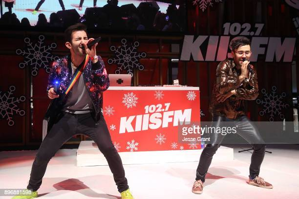 MAX and Ryan Siegel perform onstage during the 'Live at the Atrium' Holiday Concert Series in Partnership with KIISFM Presented by Westfield Century...