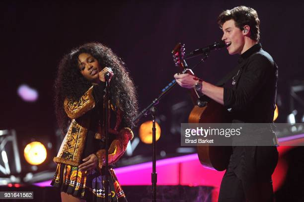 SZA and Sean Mendes perform during the Elton John I'm Still Standing A Grammy Salute at The Theater at Madison Square Garden on January 30 2018 in...