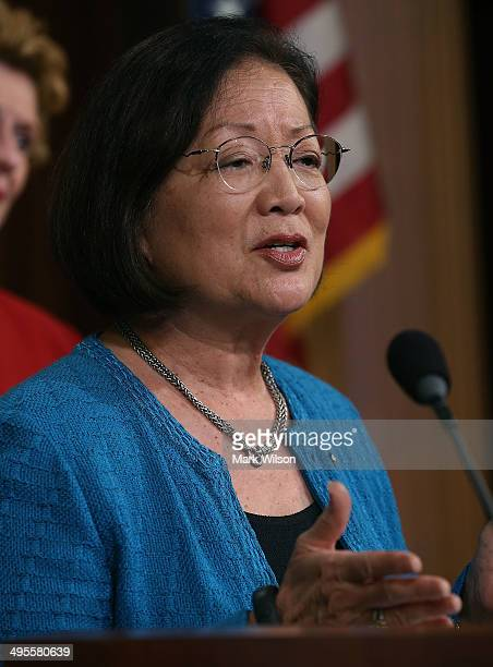 and Sen Mazie Hirono speaks student loans for women during a news conference on Capitol Hill June 4 2014 in Washington DC Democratic women Senators...