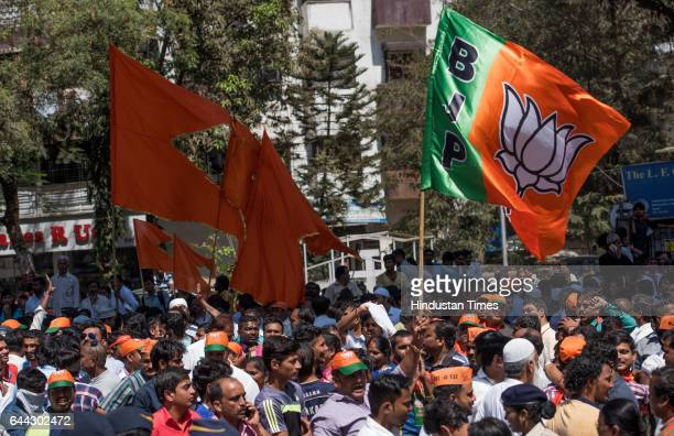 BJP and Shiv Sena supporters at Gundavali Municipal School Andheri as vote counting is in progress on February 23 2017 in Mumbai India The BJP has...