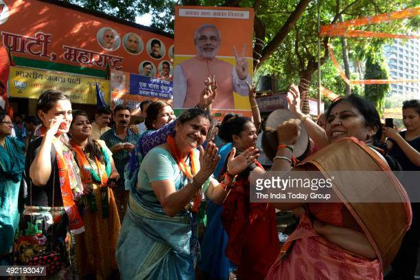 BJP and Shiv Sena workers celebrating the partys Lok Sabha election victory in Mumbai