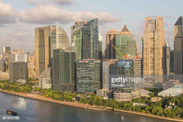DBS and skyscrapers in Pudong along the Huangpu river 23 August 2017 in Shanghai China