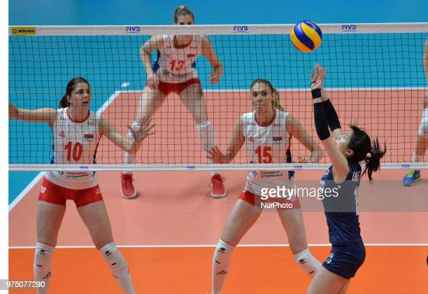 ANA BJELICA and SLADJANA MIRKOVIC of Serbia in action during FIVB Volleyball Nations League match between Korea and Serbia at the Stadium of the...