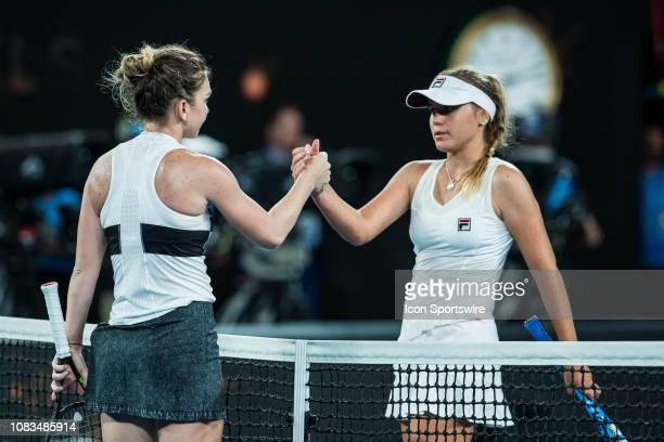 and SOFIA KENIN during day four match of the 2019 Australian Open on January 17 2019 at Melbourne Park Tennis Centre Melbourne Australia