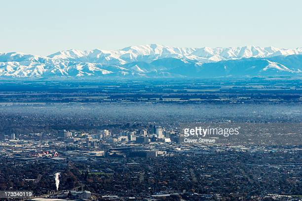 cbd and southern alps - christchurch stock pictures, royalty-free photos & images