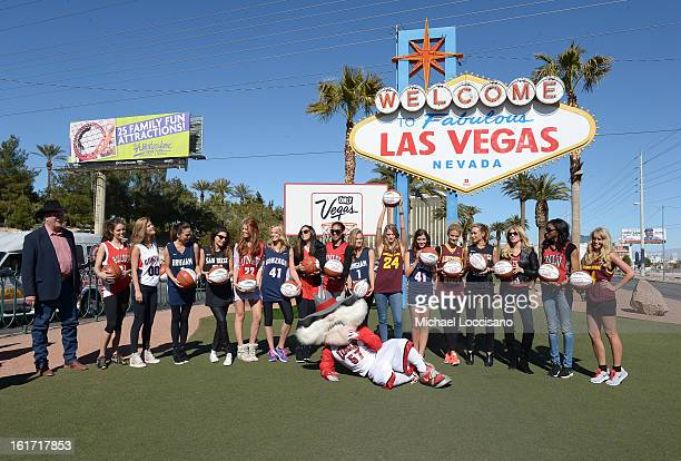 LVCVA and Sports Illustrated Models support the NCAA Basketball Conference Championship at the historic Las Vegas sign on February 14 2013 in Las...