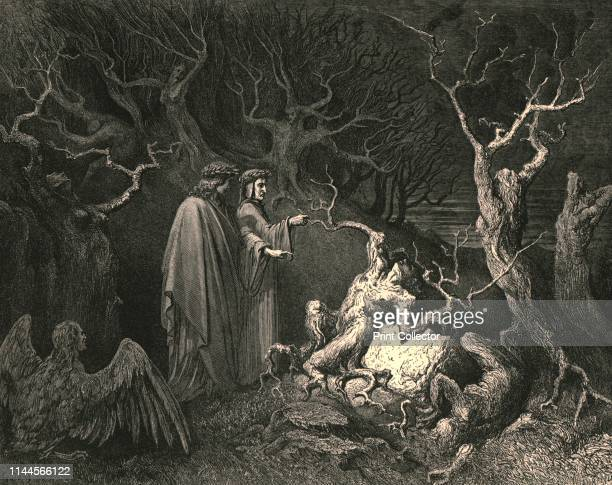 """And straight the trunk exclaim'd, """"Why pluck'st thou me?""""', circa 1890. Dante and the Roman poet Virgil encounter men who who have been transformed..."""