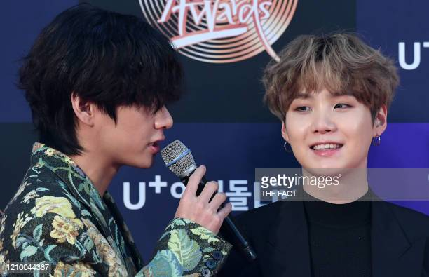 And Suga of BTS arrive at the photo call for the 34th Golden Disc Awards on January 05, 2020 in Seoul, South Korea.