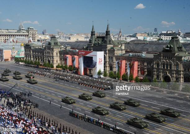And T-14 Armata tanks during the Victory Day military parade in Red Square marking the 75th anniversary of the victory in World War II, on June 24,...