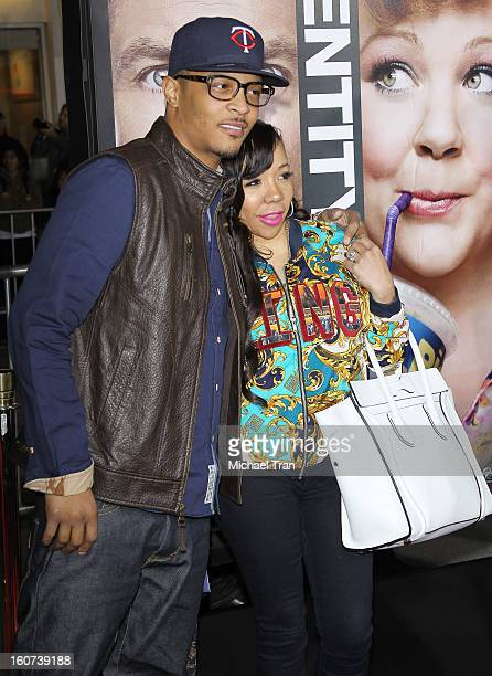 """And Tameka """"Tiny"""" Cottle arrive at the Los Angeles premiere of """"Identity Thief"""" held at Mann Village Theatre on February 4, 2013 in Westwood,..."""