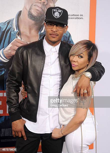 I and Tameka 'Tiny' CottleHarris arrive at the Los Angeles premiere of 'Get Hard' at TCL Chinese Theatre IMAX on March 25 2015 in Hollywood California