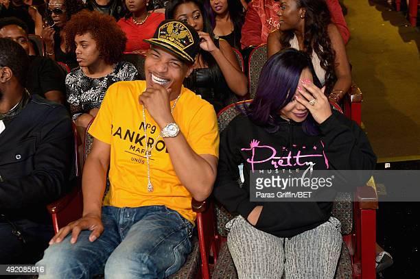 I and Tameka 'Tiny' CottleHarris enjoy the BET Hip Hop Awards Show 2015 at the Atlanta Civic Center on October 9 2015 in Atlanta Georgia
