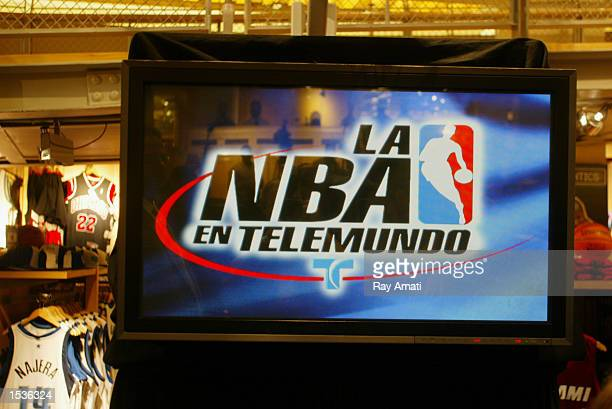 NBA and Telemundo logo during the NBA's partnership launch party with Spanish Television Network Telemundo on October 18 2002 at The NBA Store in New...