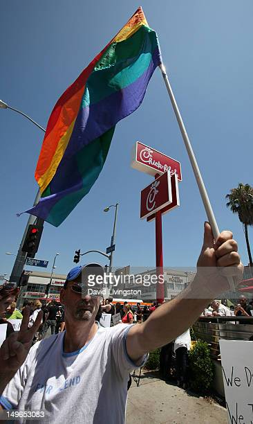 PETA and the LGBT community's 'ChickfilA Is AntiGay' protest occurs at ChickfilA on August 1 2012 in Hollywood California