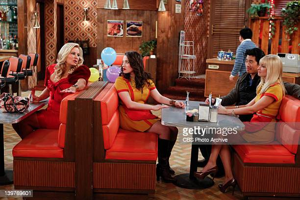 'And The One Night Stand' Caroline Channing from right gets cozy with Edwin the webmaster for their cupcake web site while Max Black and Sophie...