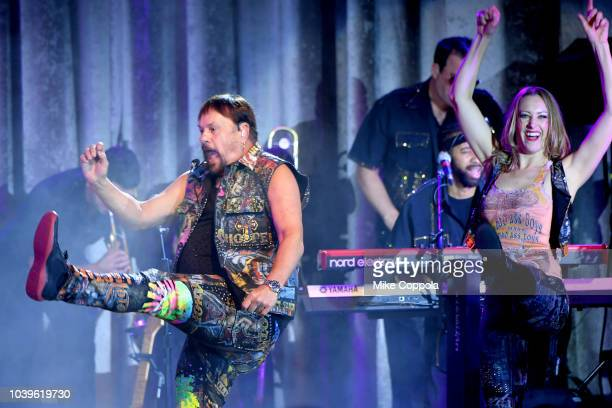KC and The Sunshine Band performs onstage during the 33rd Annual Great Sports Legends Dinner which raised millions of dollars for the Buoniconti Fund...