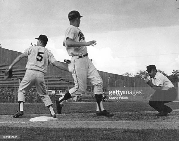 JUL 10 1966 JUL 11 1966 And Then the Rains Came Sunday at Bears Stadium Denver's Frank Kostro appears to be looking to umpire Dutch Rennert for a...