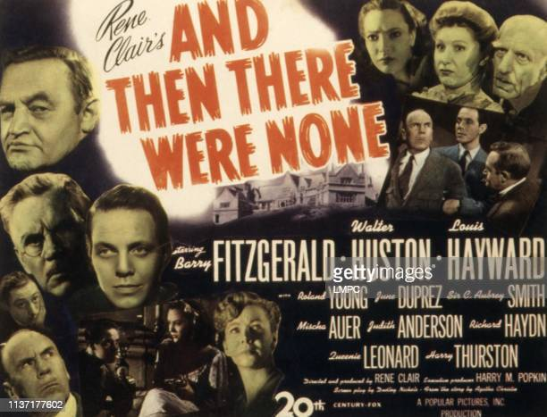 And Then There Were None poster Barry Fitzgerald Walter Huston Louis Hayward Roland Young June Duprez Mischa Auer C Aubrey Smith Judith Anderson 1945