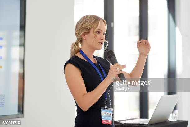 and this is how we're going to make it happen - public speaker stock photos and pictures
