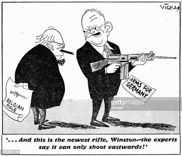 and this is the newest rifle Winston the experts say it can only shoot eastwards Daily Mirror 4th February 1954 Vicky cartoon depicting Prime...